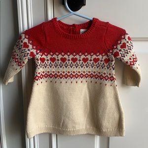 Baby Gap heart sweater dress NWT